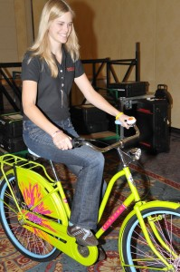 Me prepping for the Momentum bike fashion show at Interbike